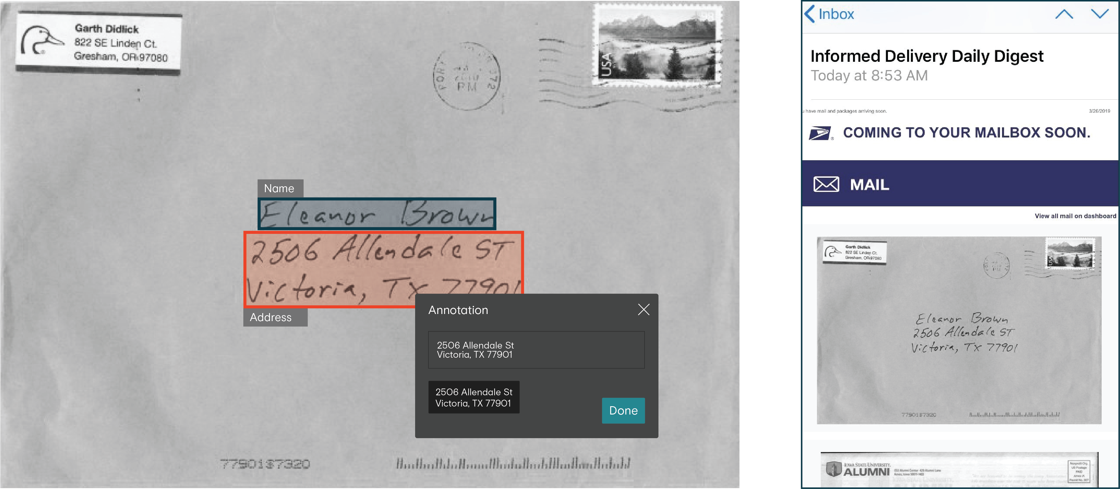 Left: Image of envelope address translated to text data. Right: USPS informed delivery email with image of the envelope.